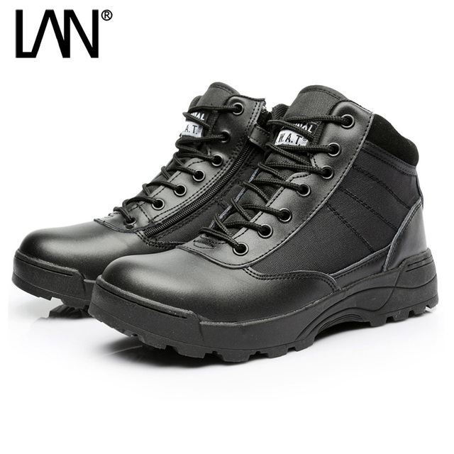 Dropshipping Army Boots Male Low Top Design Tactical Boots Delta SWAT Shoes for Men Black Military Boots Zipper