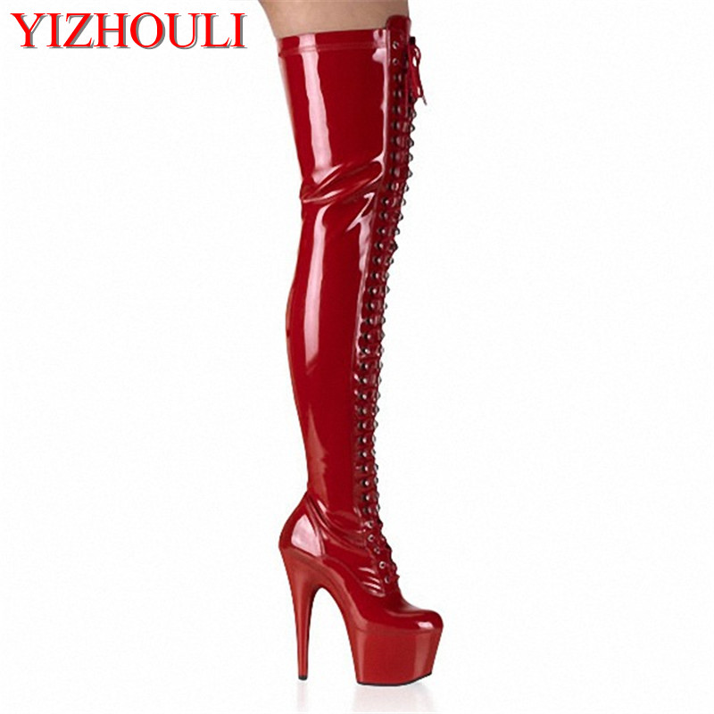 15cm Ultrafine temptation black tie ribbons before high tide with knee-high boots joker sexy over-the-knee boots