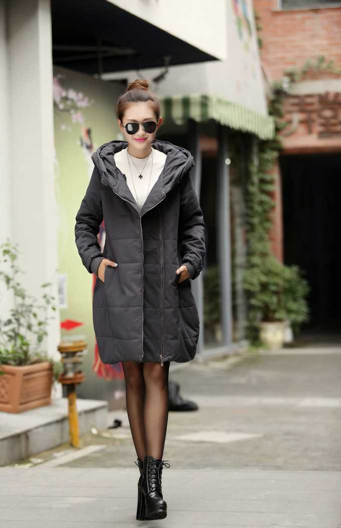 New Arrival Fashion Korean Slim Mid Long Cotton Padded Jackets Zipper Hooded Thickening Large Size Army Women Overcoat H4537 new arrival fashion korean slim long sleeves hooded collar zippers thickening mid long cotton wadded overcoat women coat h5812