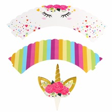 OurWarm 48PCS Birthday Decoration Unicorn Party (24PCS Cupcake Wrappers +24PCS Cake Topper) for Baby Shower Party Cake Decor