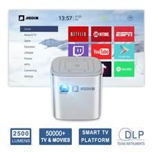Портативный мини-проектор AODIN Fusion, 2500 люмен, Wi-Fi, Карманный DLP LED ТВ-проектор, поддержка 1080P, потоковое телевидение 50000 + ТВ/фильмы