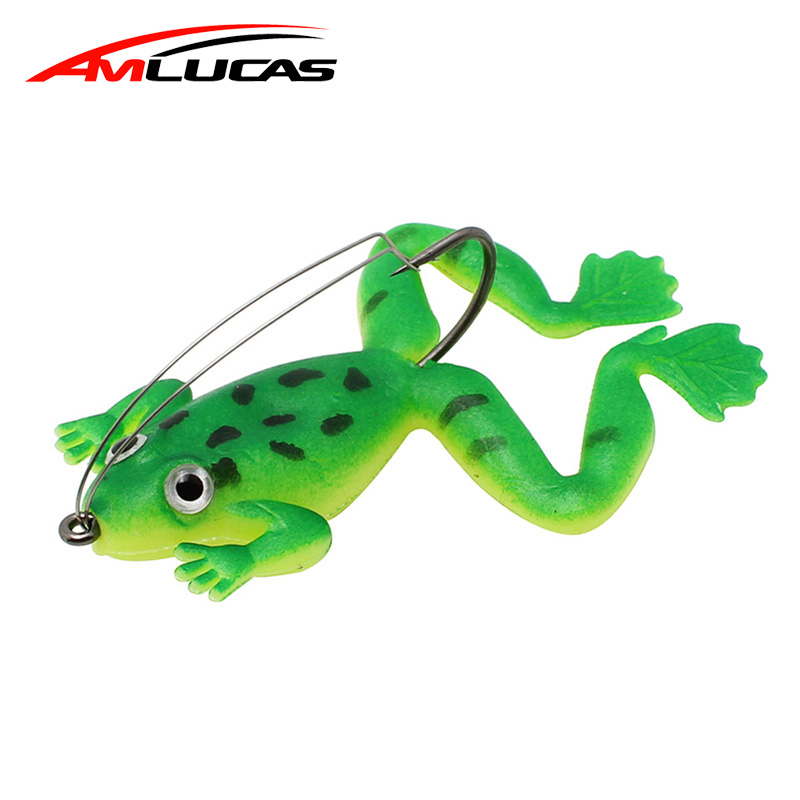 Amlucas Frog Fishing Lure 6cm 5.2g Rubber Soft Bait 3 Colors Worm Plastic Fish with Hook Artificial Bait Fishing Tackle WW1045 hengjia 32pcs 3 5g fishing lure worm jighead hook for bass fishing hook soft bait artificial lure