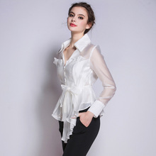Women's new V collar pleated blouse a creative fashion trendsetter long sleeved jacket