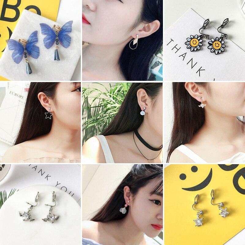 Grace Jun New Arrival Rhinestone Enamel Butterfly Angel Heart Shape Clip on Earrings Non ...