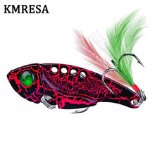 1pcs Metal VIB 11G/5.5CM Fishing Lure Vibration Spoon Lure Crankbait Bass  Artificial Hard Baits with Feather Cicada VIB tackle