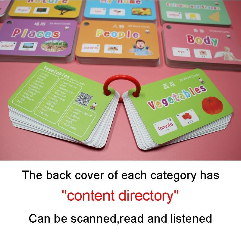 20 livres/Set 640 pcs Enfants Chinois et Anglais Flash Cartes Poche Carte Mot Carte Éducatifs Jouets D'apprentissage Pour enfants Enfants Cadeaux - 2