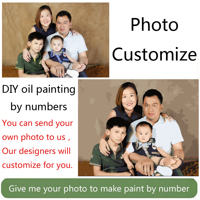 Photo custom make your own customized DIY oil painting by numbers picture drawing canvas portrait wedding family photos