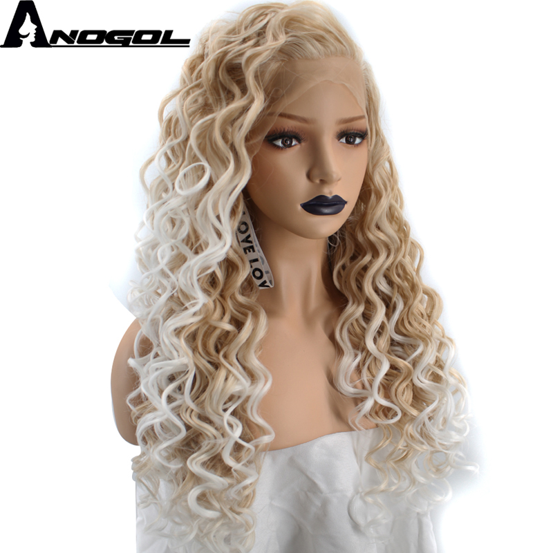 Anogol High Temperature Fiber Natural Long Kinky Curly Ombre Platinum Blonde Free Part Synthetic Lace Front Wig For Women