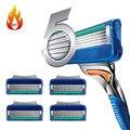 Nova Classe AAAAA 4 pçs/lote Fusione Navalha de Barbear Lâminas de barbear para Homens, melhor Qualidade Cassete Barbeador Barbear Padrão para RU & Euro