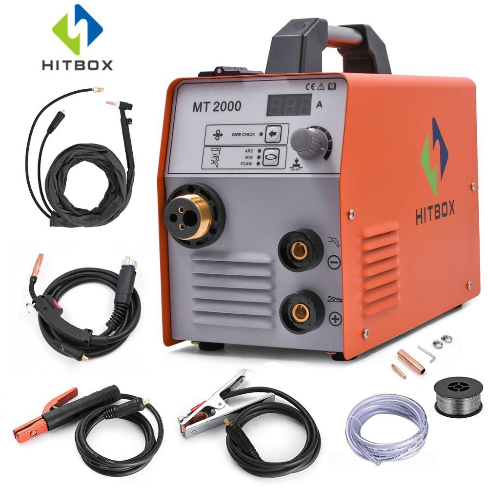 HITBOX Funcional Soldagem MIG TIG ARC Soldador Mig Gasless MIG MAG Soldador Acessórios Completos de Controle Inteligente de Gás Máquina