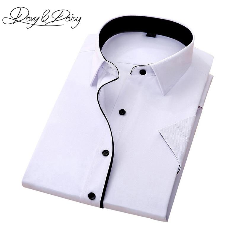 DAVYDAISY High Quality Social Shirt Men Business Slim Fit Short Sleeve Solid Twill Dress Shirts Men Summer Camisa DS-155