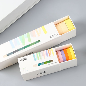 Washi Tape Set 12x Decorative Washi Rainbow Sticky Paper Masking Adhesive Tape Scrapbooking DIY
