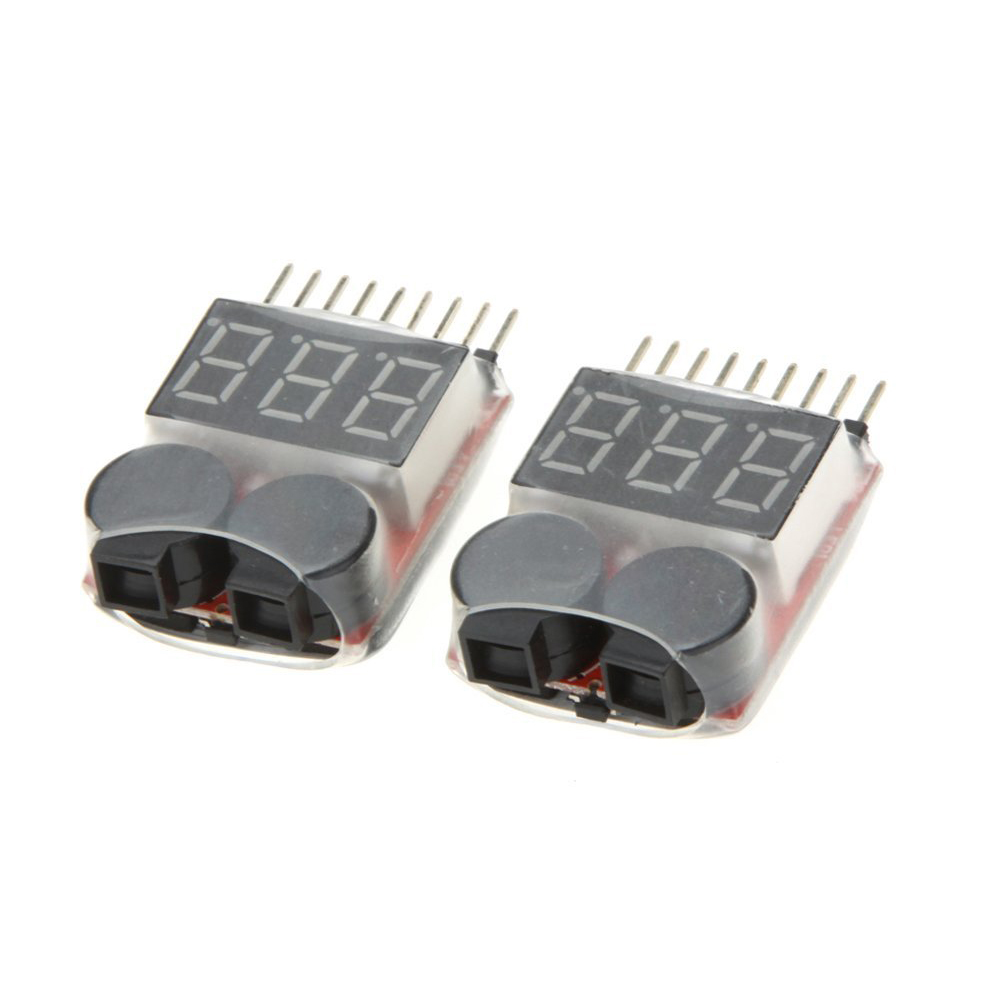 ETC Hot 2Pcs 1-8S Indicator RC Li-ion Lipo <font><b>Battery</b></font> <font><b>Tester</b></font> Low <font><b>Voltage</b></font> Buzzer Alarm Red