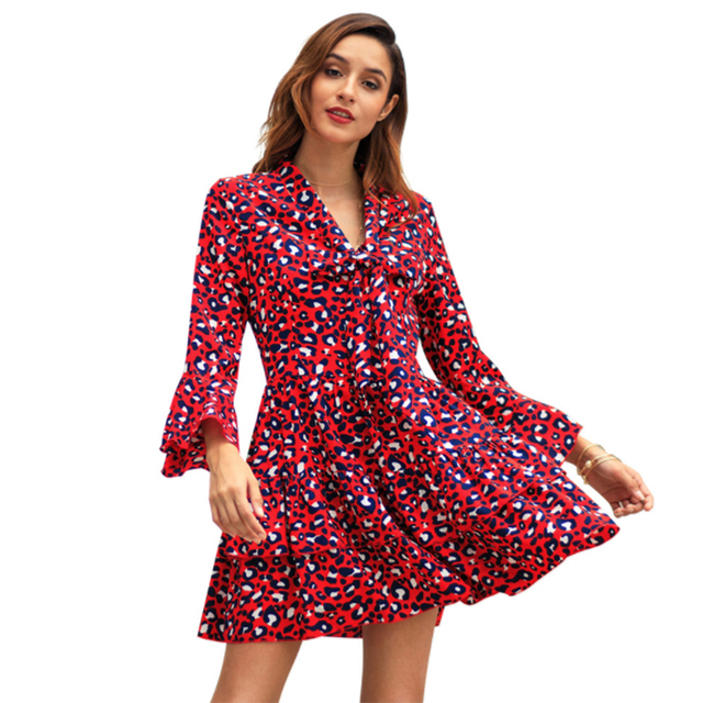 US $22.99 |Leopard Dress Plus Size Animal Print Christmas Dress Women  Ruffle Autumn Winter Dresses Long Sleeve 2018 Vestidos Mini Clothes-in  Dresses ...