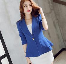 2017 New Long sleeved Slim Women Blazers And Jackets Small Women Suit Korean Version Pink Blue