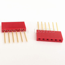 50pcs Red 2.54mm 6P Stackable Long Legs Female Header For Arduino Shield