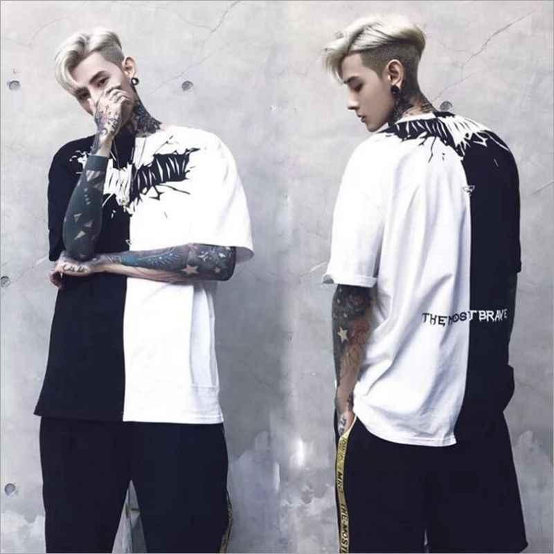 3dada8722818 Men Women T Shirt Hip Hop Summer Black White Patchwork Print Hiphop T-shirts
