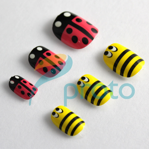 NEW Fashion 24 Nail Full Covers Press-On Manicure Perfect Gift Salon Manicure Nail Art - Ladybirds Dropship [Retail] SKU:A0195