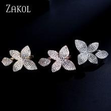 ZAKOL lujo AAA cúbicos Zircon abierto plataformas Micro Pave ajuste Rose en forma de flor grande mujeres dedo Anneaux joyería FSRP2034