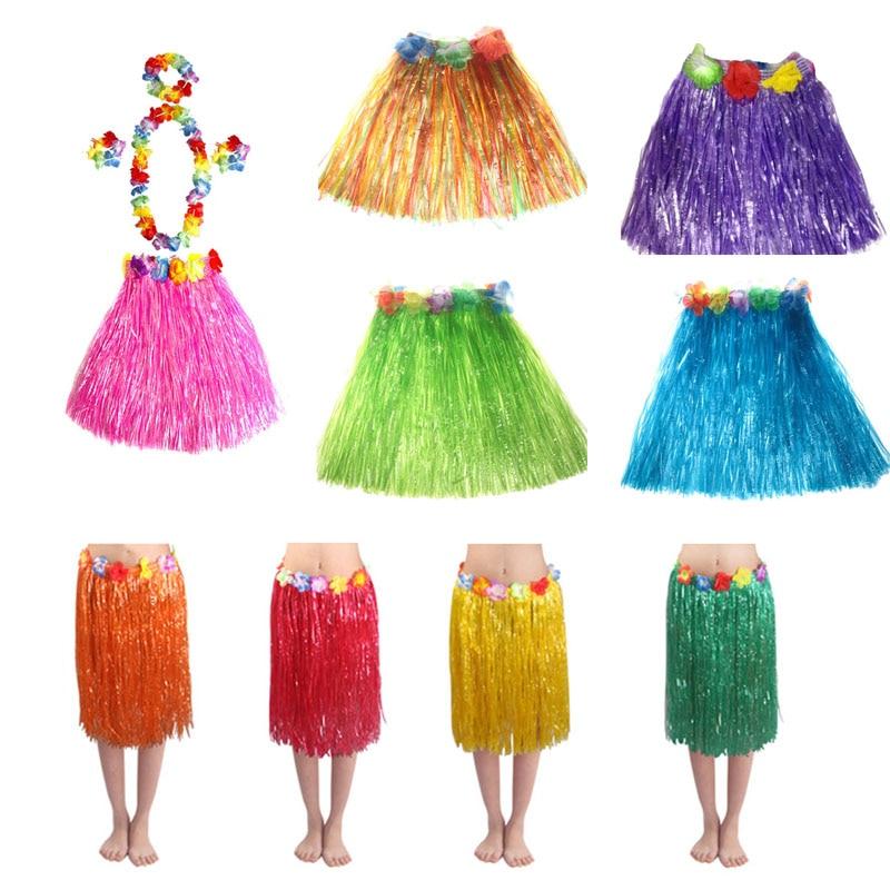Niño adulto espectáculo de actuación Hula disfraz de hierba falda Hula hawaiana artículos para fiesta de boda Hawaii playa chicas mujer vestido de baile