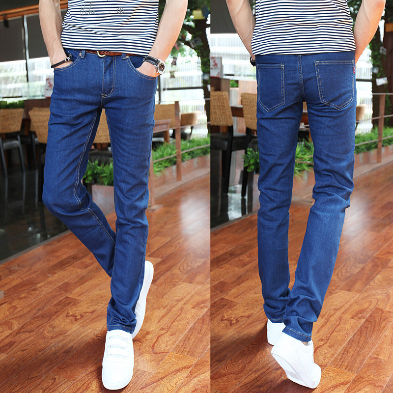 Cultivate ones morality show thin fall 2018 men jeans blue denim trousers tide male youth stretch feet pencil pants
