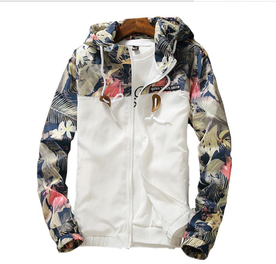 Spring Autumn Womens Windbreaker Plus Size 4XL Zipper Hooded Floral Loose Windbreaker Womens Jacket Basic Jacket Coat    201929