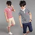 ГОРЯЧИЕ 2017 летние мальчики полосатый с коротким рукавом футболки костюм два кусок мальчик детская одежда 11-13 лет мальчик одежды рубашка малыша