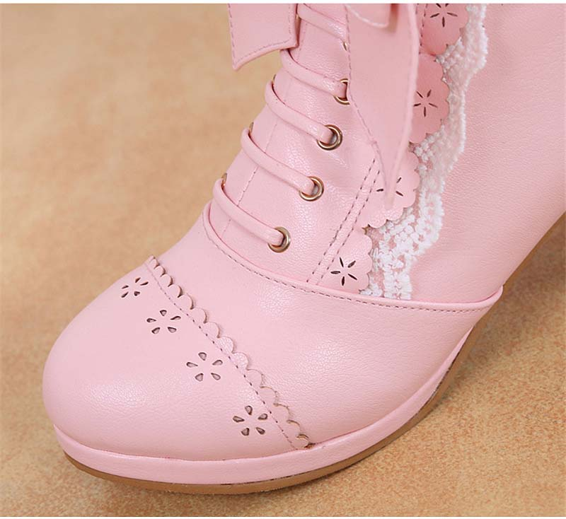 Sweet Japanese Beauty Women Ankle Boots Winter New Lace Bow Snow Boots For Women Lace Up Platform Thick High Heels Lolita shoes (5)