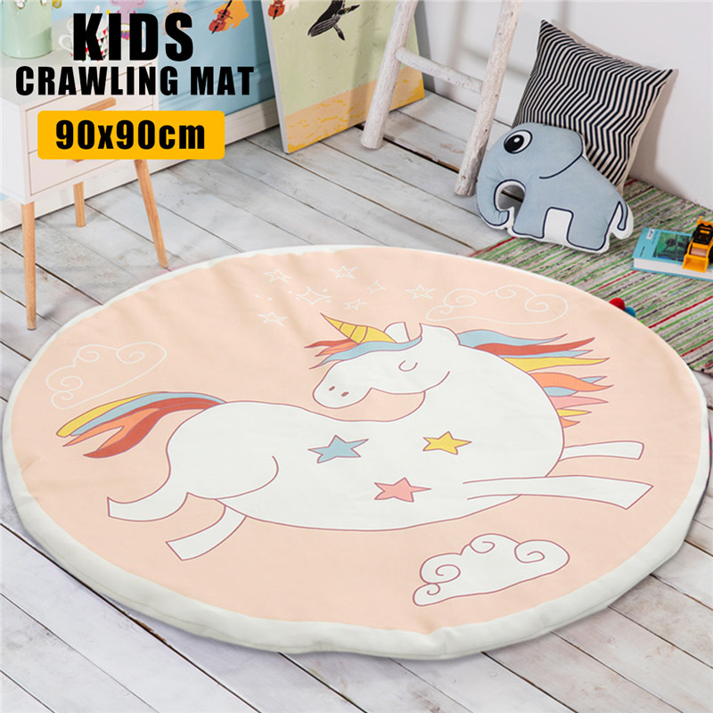 Cotton Licorne Soft Round Rugs Carpet Baby Sit Crawl Kid Play Girls Pink Mat Blanket Bedroom Decor For Baby Room Decor