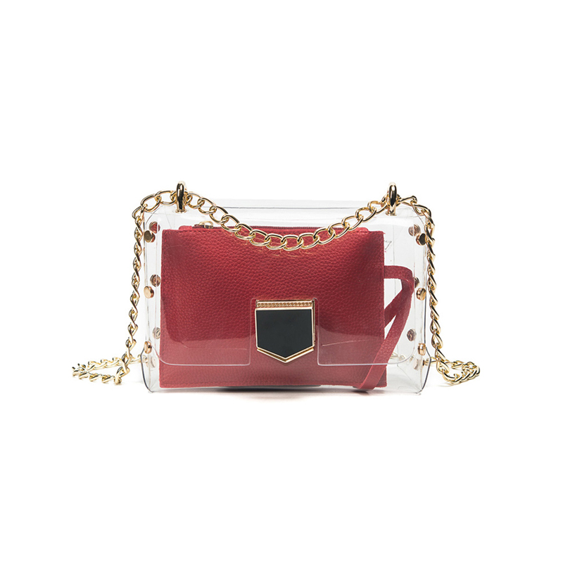 2017 summer candy color Women Transparent Handbag ladies chain shoulder bag with purse fashion shoulder beach bags Bolsa XPU1073