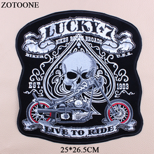 ZOTOONE Big Punk Rock Skull Patch Large Embroidery Biker Patches Motorcycle For Clothes Jacket Iron On letter Emo jeans