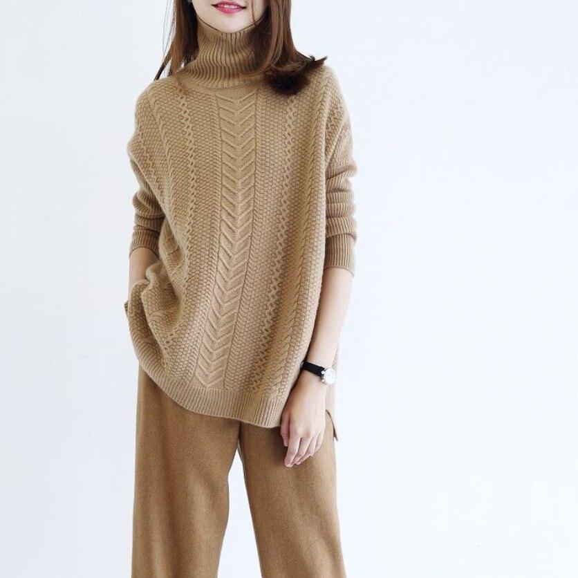 2018 зимний женский шерстяной свитер с высоким воротником, Свободный вязаный свитер, мягкие теплые пуловеры, уличная одежда
