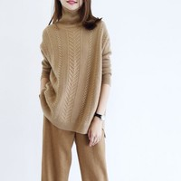 2018 winter women turtleneck wool loose knit sweater soft warm pullovers streetwear