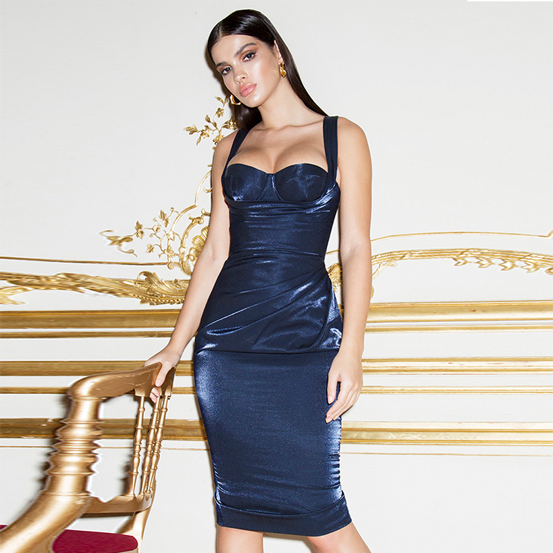Deer Lady Christmas Dress Women Sexy 2019 New Arrivals Blue Bodycon Knee Length Dress Elegant Drape Corset Dress Party Club