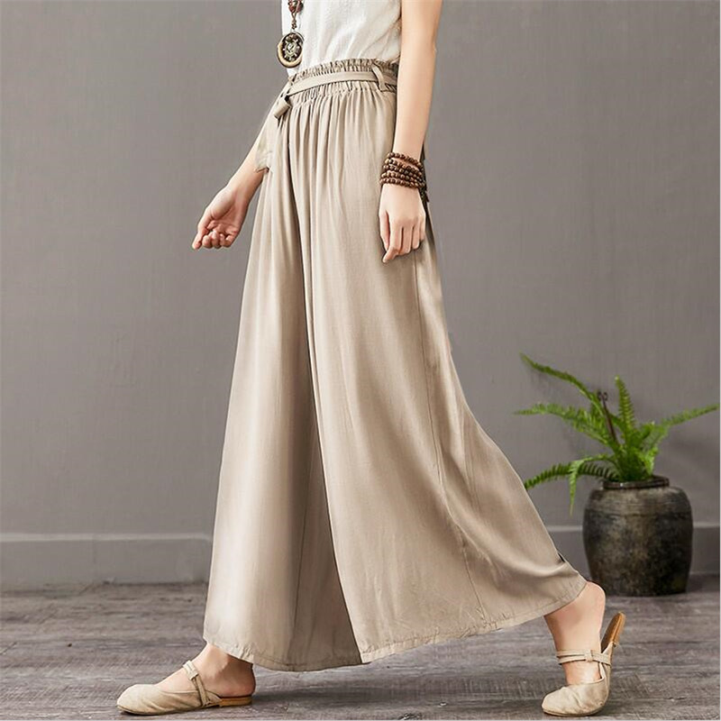 2020 New Summer Women Solid Long Pants Thin Cotton Linen Loose Comfortable Wide Leg Pants Plus Size Trousers M-7XL Green Khaki
