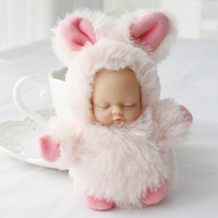 Phim hoạt hình Dễ Thương Bunny Ngủ Bé Doll Keychain Đồ Chơi Trẻ Em Lông Thú Sang Trọng Pom Pom Vòng Chìa Khóa Phụ Nữ Xe Túi Quyến Rũ Chính Chủ Đính Chaveiro