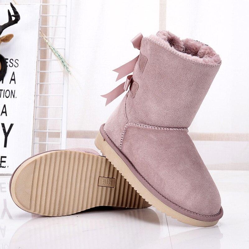 Mujeres Genuino De Pink Las sandy Zapatos Para Gray light Grwg Clásico chestnut black Botas Impermeable Invierno Piel Vaca gray Cuero Mujer Nieve wf7WXZ5q