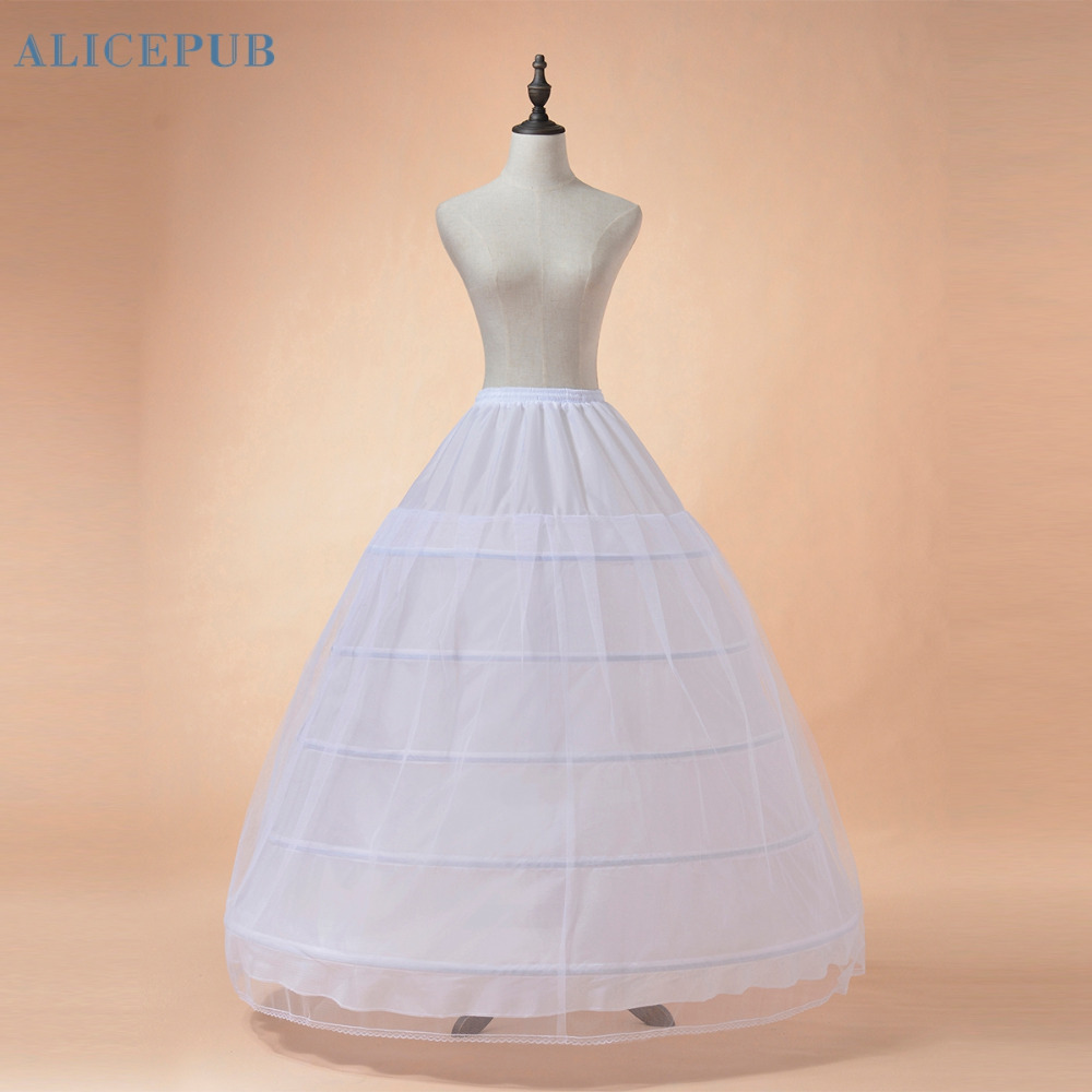 Plus size white black petticoat 5 hoop long crinoline for Hoop underskirt for wedding dress