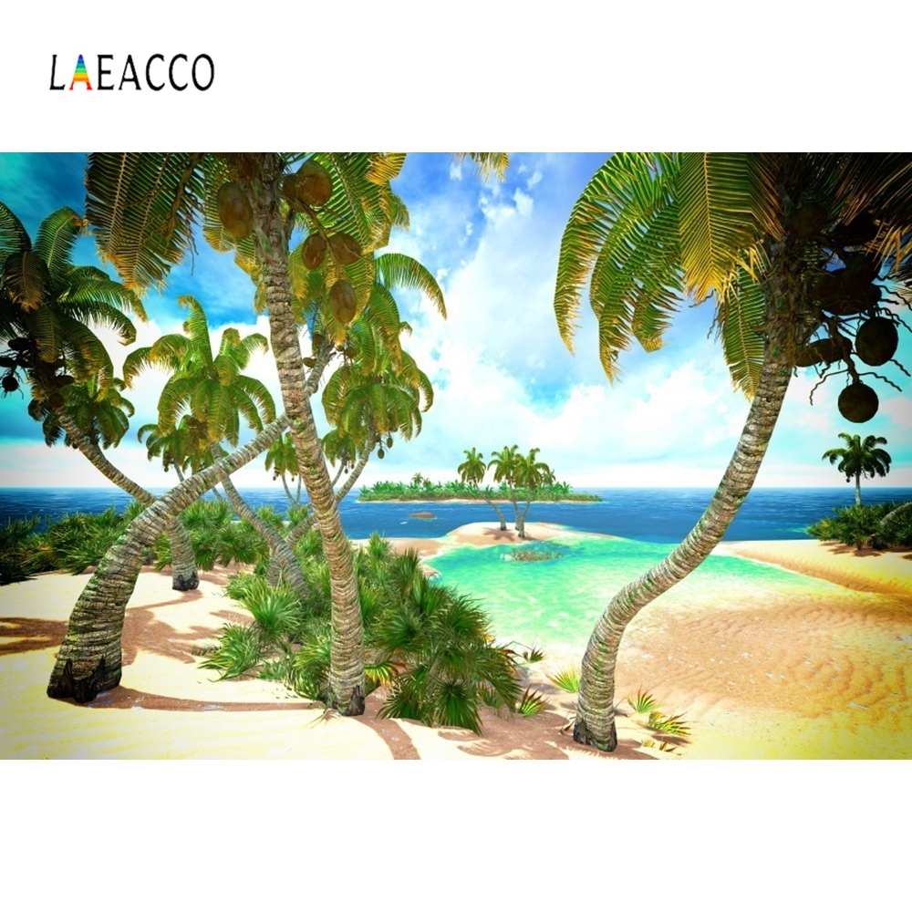 Laeacco Summer Seaside Beach Island Coconut Tree Scene Realistic Photography Backgrounds Photographic Backdrop For Photo Studio in Background from Consumer Electronics