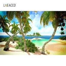 Laeacco Summer Seaside Beach Island Coconut Tree Scene Realistic Photography Backgrounds Photographic Backdrop For Photo Studio