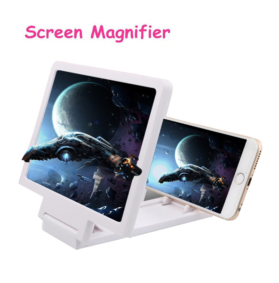 LIXFDJ 12 Screen Smartphone Magnifying Glass Wooden 3D Mobile Phone Enlarger Screen Movie Video Screen Amplifier Bracket Desktop Foldable Stand Holder for Smartphone 2X 3X Magnifier