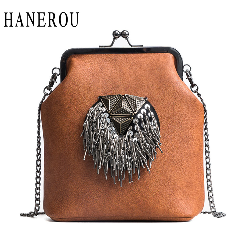 HANEROU Messenger Bags For Women PU Leather Tassel Fashion Frame Bag 2018 New Arrival INS Style Crossbody Chains Shoulder Bags