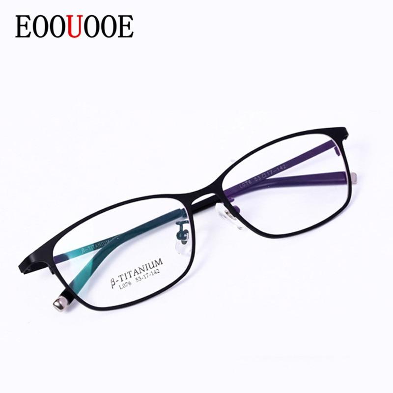 EOOUOOE hommes femmes titane optique Glasse cadre ovale lunettes Oculos lunettes Gafas optik lunettes cadre lunettes optique homme