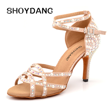 SHOYDANC Latin Dance Shoes And Pearl Rhinestone Ladies Salsa  Women Salsa Dancing Shoes White Fashion Women Dance Shoes Hell 6-1