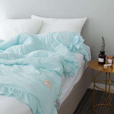 Однотонное розовое, зеленое, тонкое летнее одеяло, покрывало для кровати, лоскутное одеяло, подходит для взрослых, детей, домашний текстиль - Цвет: G