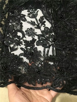 Latest African Laces Fabrics Embroidered High Quality French Lace beads Fabric Cheap Nigerian Net tulle Lace Fabric Black(CD 018