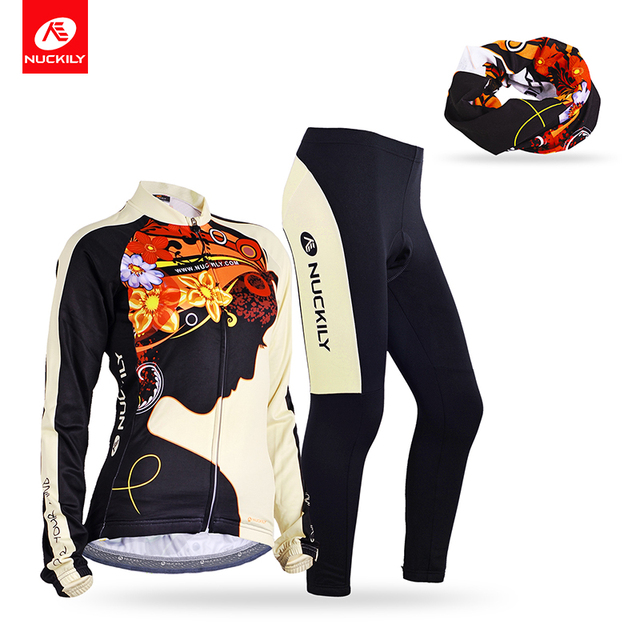 Nuckily summer Long Sleeve Elastic Fabric Quick Dry Ciclismo Woman Cycling  Jersey and tights + head c780545a6