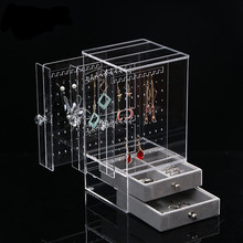 New Acrylic Transparent Crystal Jewelry showing Shelf  Necklace Rack Box Earrings Hanger Nail Art Display Stand