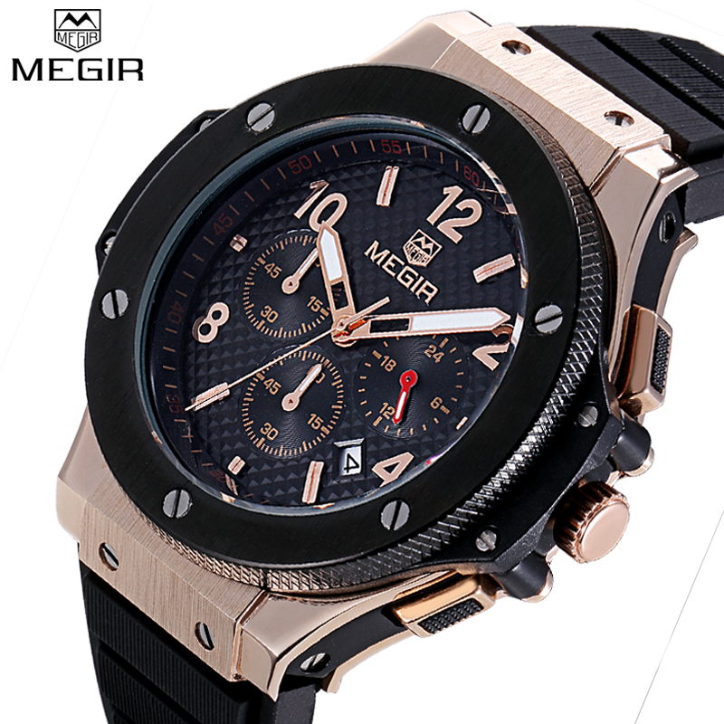 цена на MEGIR Cycling Chronograph Men Sport Watches Men's Quartz Auto Date Clock Top Brand Luxury Man Rose Gold Watches relojes hombre