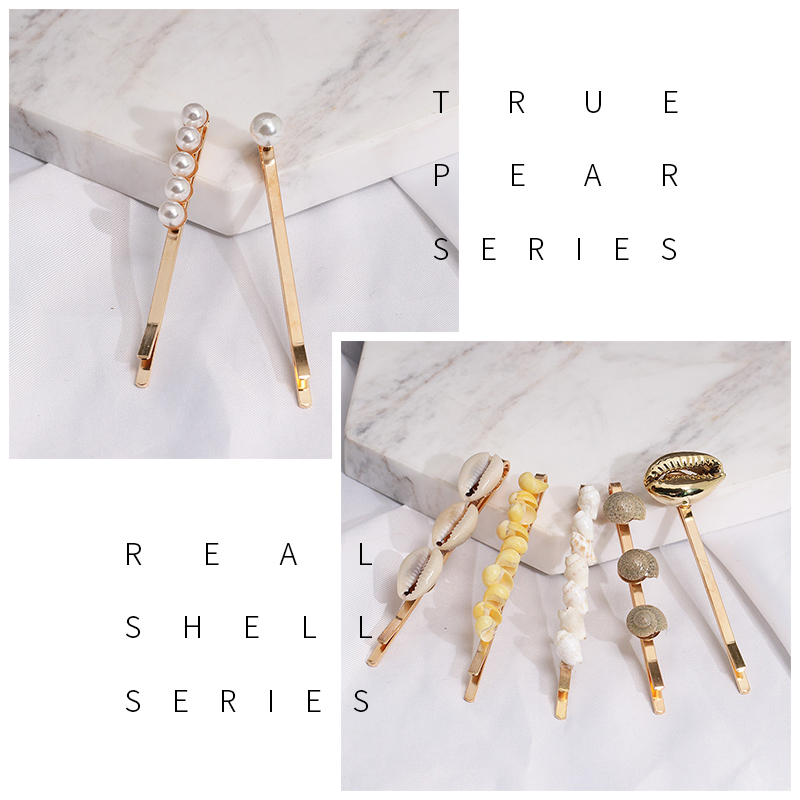 2019 Jewelry Sea Shell Hair Clips Real Pearl Barrettes Hair Pins Accessories For Wedding Women Girls Beauty Styling New Arrival in Hair Clips Pins from Beauty Health